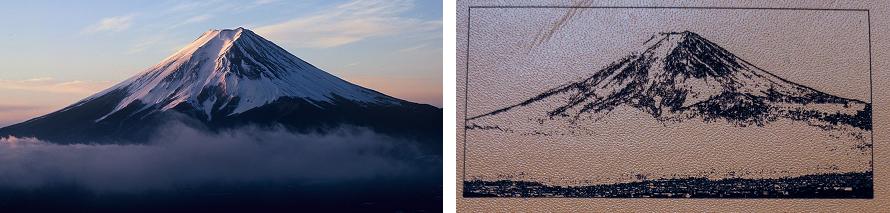 オーダーシューズ 中敷 レーザー加工 富士山